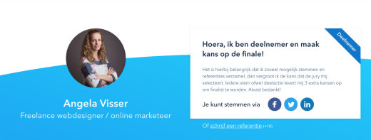 "Genomineerd voor de ""Freelancer of the year 2018"" award!"